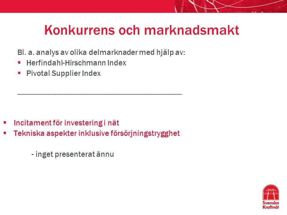 Konkurrens och marknadsmakt Bl. a. analys av olika delmarknader med hjälp av:  Herfindahl-Hirschmann Index  Pivotal Supplier Index -----------------
