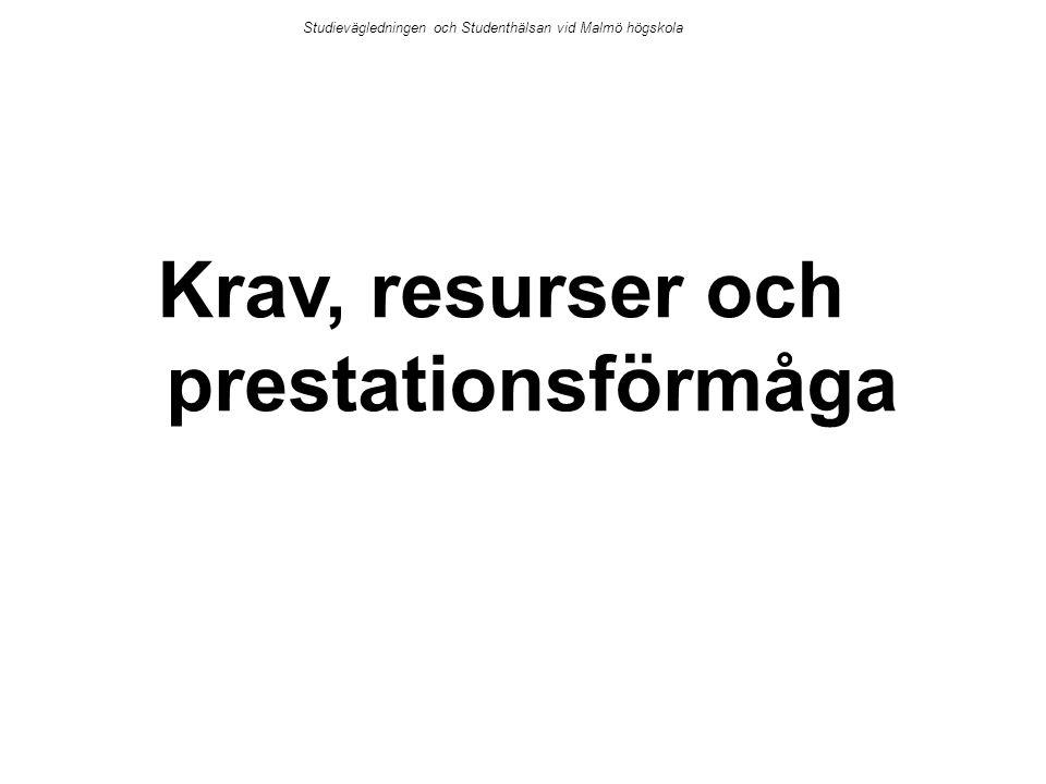 Krav, resurser och prestationsförmåga Studievägledningen och Studenthälsan vid Malmö högskola