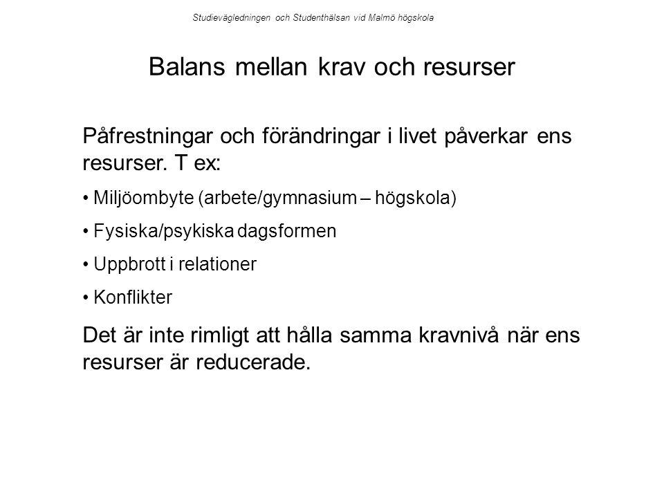 Studievägledningen och Studenthälsan vid Malmö högskola Balans mellan krav och resurser Påfrestningar och förändringar i livet påverkar ens resurser.