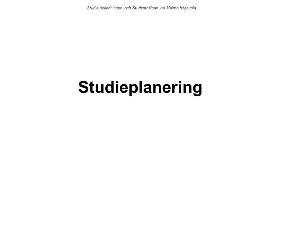 Studieplanering Studievägledningen och Studenthälsan vid Malmö högskola