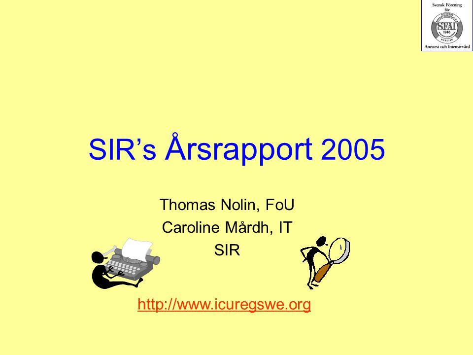 SIR's Årsrapport 2005 Thomas Nolin, FoU Caroline Mårdh, IT SIR http://www.icuregswe.org