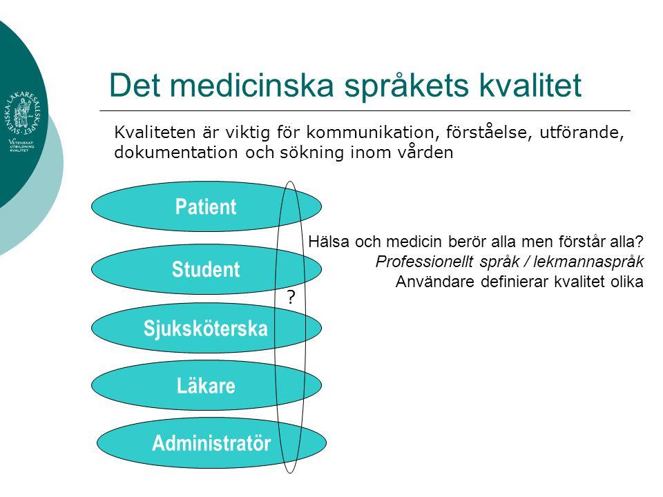 Det medicinska språkets kvalitet Hälsa och medicin berör alla men förstår alla? Professionellt språk / lekmannaspråk Användare definierar kvalitet oli