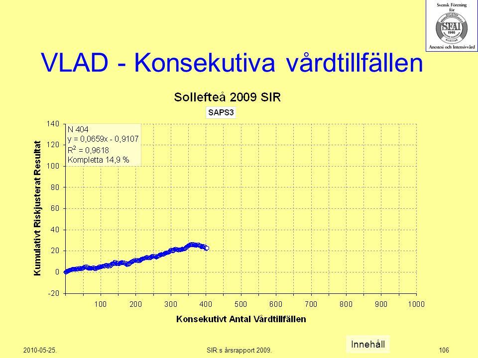 2010-05-25.SIR:s årsrapport 2009.106 VLAD - Konsekutiva vårdtillfällen Innehåll