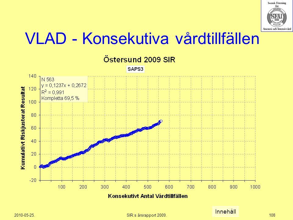2010-05-25.SIR:s årsrapport 2009.108 VLAD - Konsekutiva vårdtillfällen Innehåll