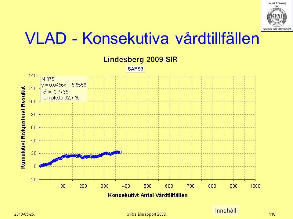 2010-05-25.SIR:s årsrapport 2009.118 VLAD - Konsekutiva vårdtillfällen Innehåll