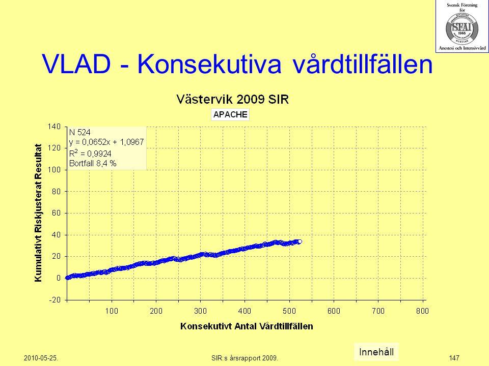 2010-05-25.SIR:s årsrapport 2009.147 VLAD - Konsekutiva vårdtillfällen Innehåll