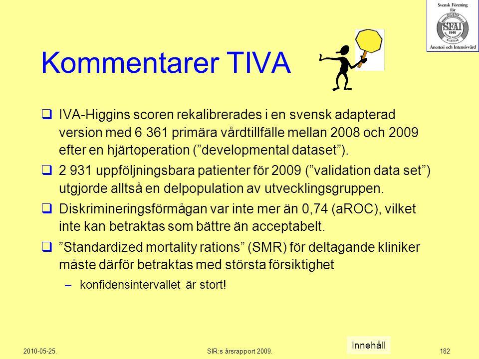 2010-05-25.SIR:s årsrapport 2009.182 Kommentarer TIVA  IVA-Higgins scoren rekalibrerades i en svensk adapterad version med 6 361 primära vårdtillfäll