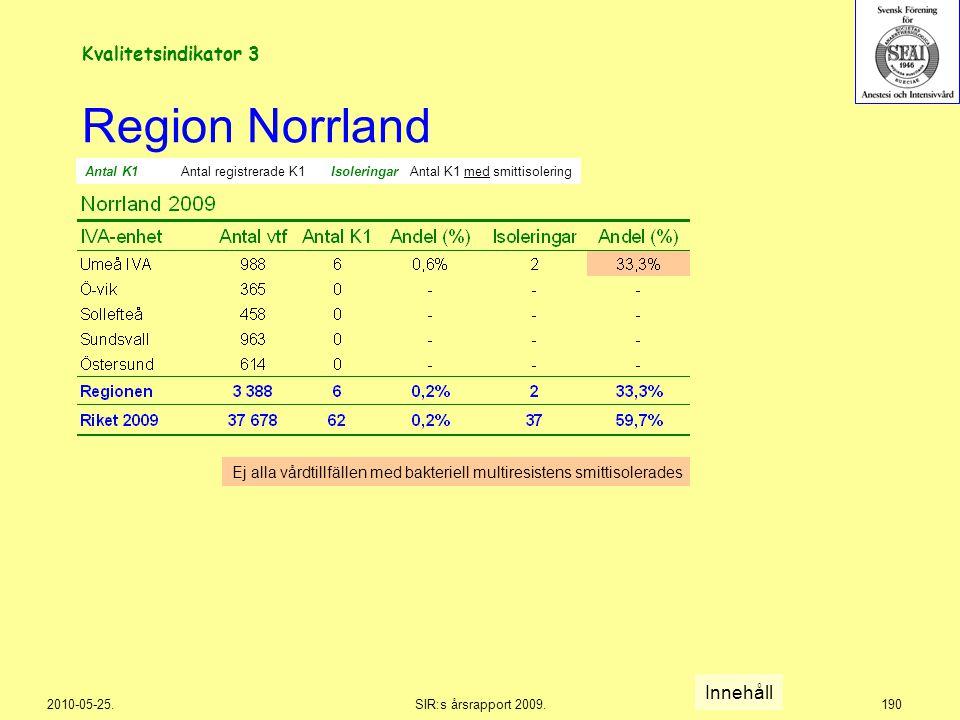 2010-05-25.SIR:s årsrapport 2009.190 Region Norrland Innehåll Kvalitetsindikator 3 Ej alla vårdtillfällen med bakteriell multiresistens smittisolerade