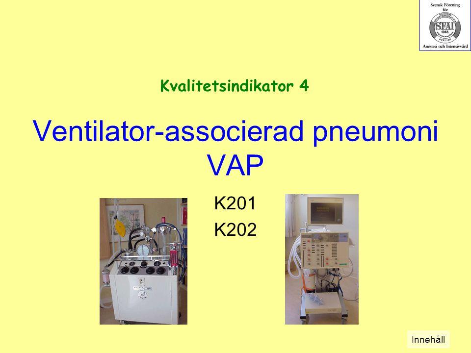 Ventilator-associerad pneumoni VAP K201 K202 Kvalitetsindikator 4 Innehåll