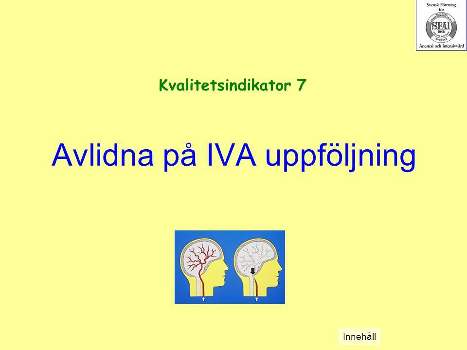 Avlidna på IVA uppföljning Kvalitetsindikator 7 Innehåll