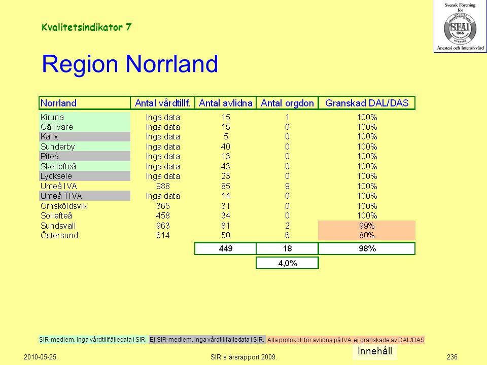 2010-05-25.SIR:s årsrapport 2009.236 Region Norrland Innehåll Ej SIR-medlem. Inga vårdtillfälledata i SIR.SIR-medlem. Inga vårdtillfälledata i SIR. Al