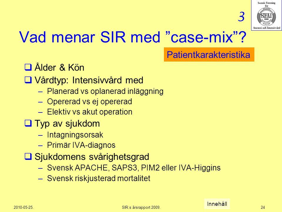 """2010-05-25.SIR:s årsrapport 2009.24 Vad menar SIR med """"case-mix""""?  Ålder & Kön  Vårdtyp: Intensivvård med –Planerad vs oplanerad inläggning –Operera"""