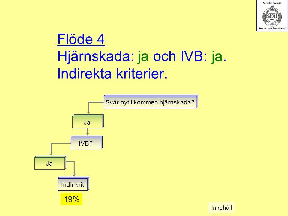 Flöde 4 Hjärnskada: ja och IVB: ja. Indirekta kriterier. Svår nytillkommen hjärnskada? Ja IVB? Ja Indir krit Innehåll 19%