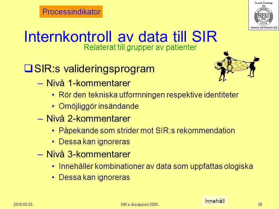 2010-05-25.SIR:s årsrapport 2009.28 Internkontroll av data till SIR  SIR:s valideringsprogram –Nivå 1-kommentarer Rör den tekniska utformningen respe