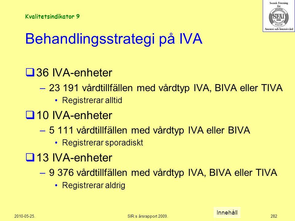 2010-05-25.SIR:s årsrapport 2009.282 Behandlingsstrategi på IVA  36 IVA-enheter –23 191 vårdtillfällen med vårdtyp IVA, BIVA eller TIVA Registrerar a