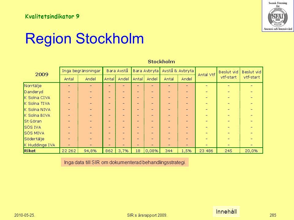2010-05-25.SIR:s årsrapport 2009.285 Region Stockholm Kvalitetsindikator 9 Inga data till SIR om dokumenterad behandlingsstrategi. Innehåll