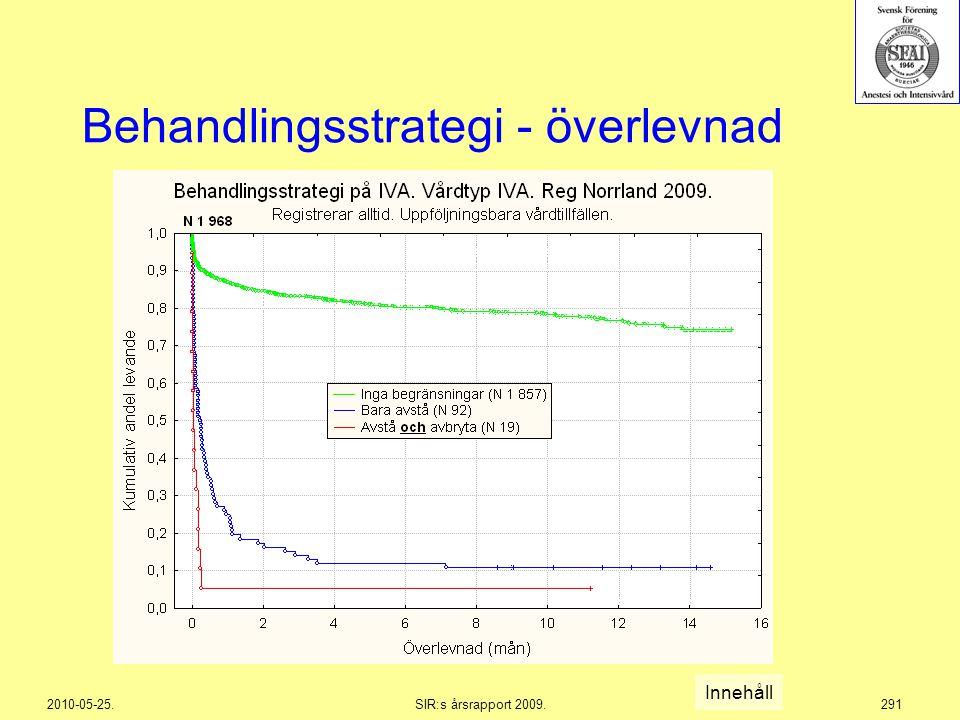 2010-05-25.SIR:s årsrapport 2009.291 Behandlingsstrategi - överlevnad Innehåll