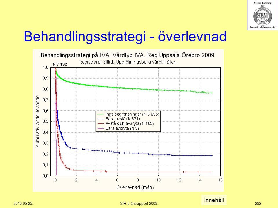 2010-05-25.SIR:s årsrapport 2009.292 Behandlingsstrategi - överlevnad Innehåll