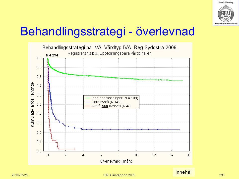 2010-05-25.SIR:s årsrapport 2009.293 Behandlingsstrategi - överlevnad Innehåll