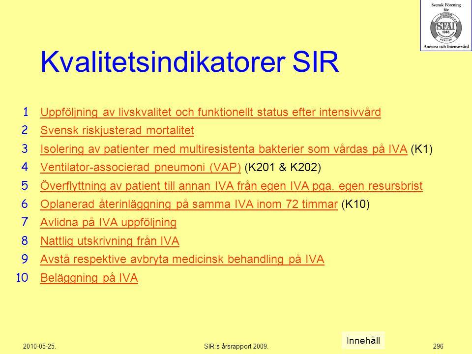 2010-05-25.SIR:s årsrapport 2009.296 Kvalitetsindikatorer SIR Uppföljning av livskvalitet och funktionellt status efter intensivvård Svensk riskjuster