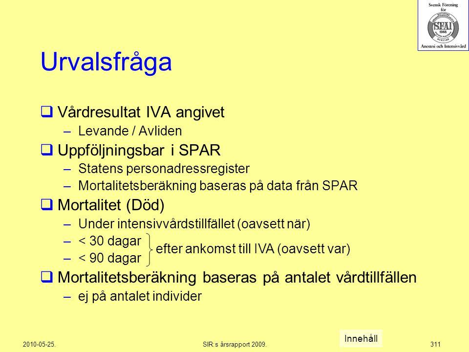 2010-05-25.SIR:s årsrapport 2009.311 Urvalsfråga  Vårdresultat IVA angivet –Levande / Avliden  Uppföljningsbar i SPAR –Statens personadressregister