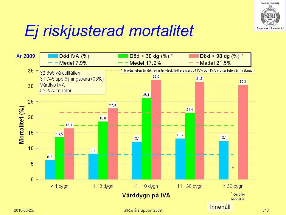 2010-05-25.SIR:s årsrapport 2009.313 Ej riskjusterad mortalitet Innehåll