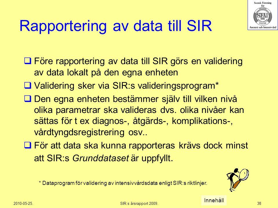 2010-05-25.SIR:s årsrapport 2009.38 Rapportering av data till SIR  Före rapportering av data till SIR görs en validering av data lokalt på den egna e