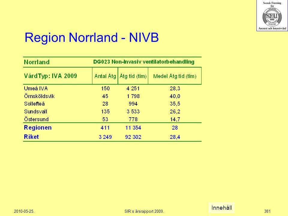 2010-05-25.SIR:s årsrapport 2009.381 Region Norrland - NIVB Innehåll