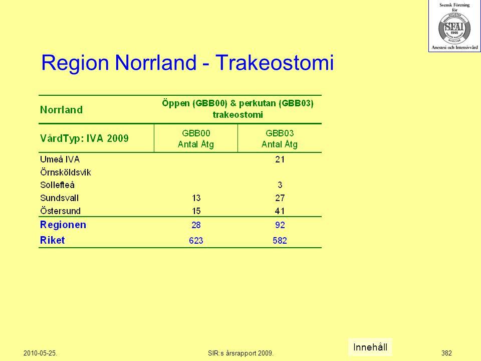 2010-05-25.SIR:s årsrapport 2009.382 Region Norrland - Trakeostomi Innehåll