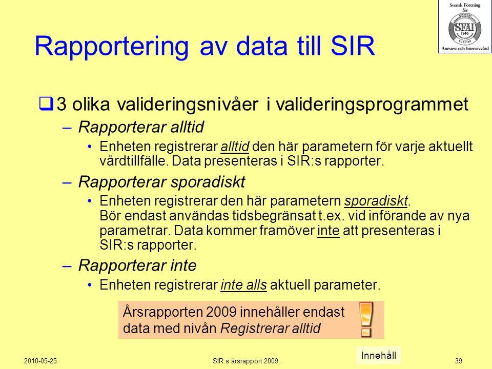 2010-05-25.SIR:s årsrapport 2009.39 Rapportering av data till SIR  3 olika valideringsnivåer i valideringsprogrammet –Rapporterar alltid Enheten regi