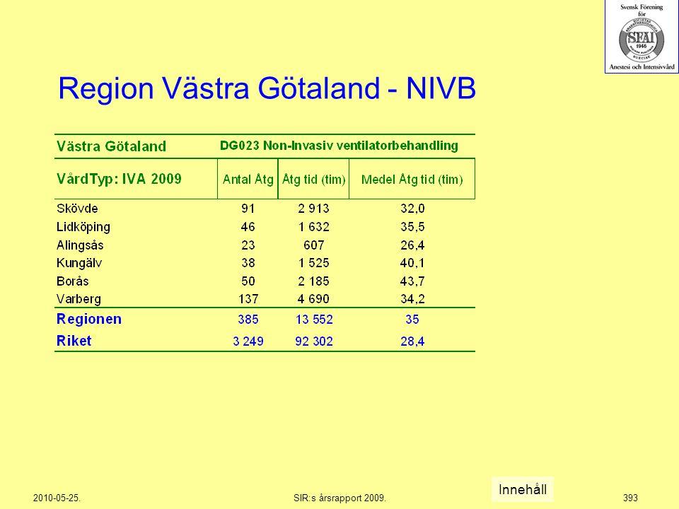 2010-05-25.SIR:s årsrapport 2009.393 Region Västra Götaland - NIVB Innehåll