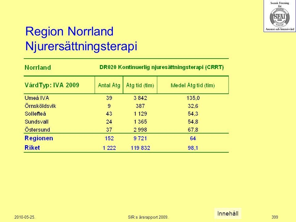 2010-05-25.SIR:s årsrapport 2009.399 Region Norrland Njurersättningsterapi Innehåll