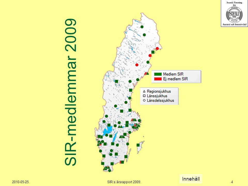 2010-05-25.SIR:s årsrapport 2009.275 Region Stockholm Innehåll ≥ 5,5 %, motsvarande percentil 33 under 2007.