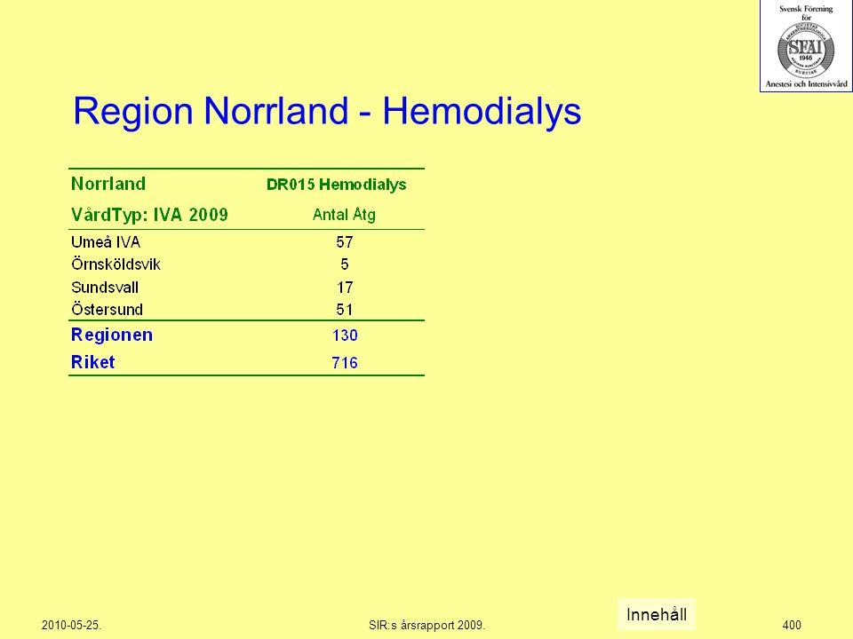 2010-05-25.SIR:s årsrapport 2009.400 Region Norrland - Hemodialys Innehåll