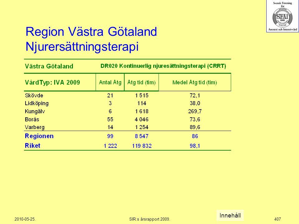 2010-05-25.SIR:s årsrapport 2009.407 Region Västra Götaland Njurersättningsterapi Innehåll