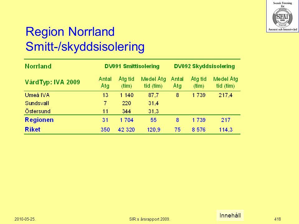 2010-05-25.SIR:s årsrapport 2009.418 Region Norrland Smitt-/skyddsisolering Innehåll