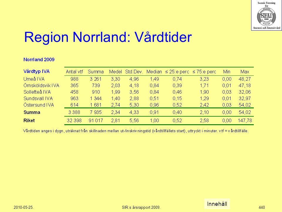 2010-05-25.SIR:s årsrapport 2009.440 Region Norrland: Vårdtider Innehåll