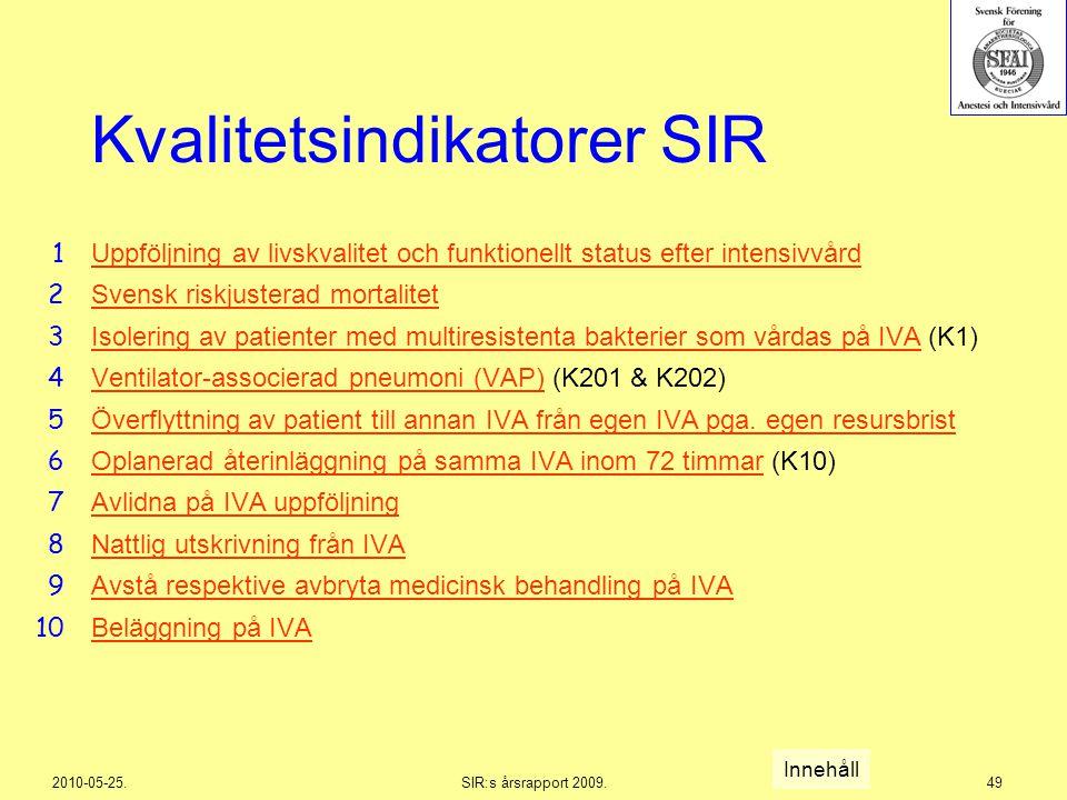 2010-05-25.SIR:s årsrapport 2009.49 Kvalitetsindikatorer SIR Uppföljning av livskvalitet och funktionellt status efter intensivvård Svensk riskjustera