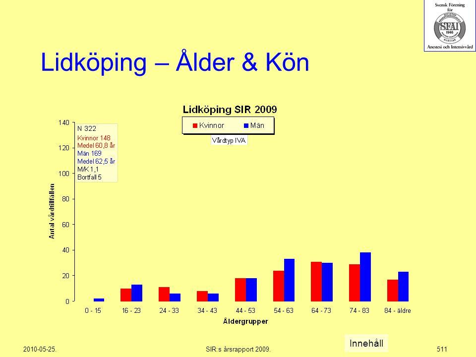 2010-05-25.SIR:s årsrapport 2009.511 Lidköping – Ålder & Kön Innehåll