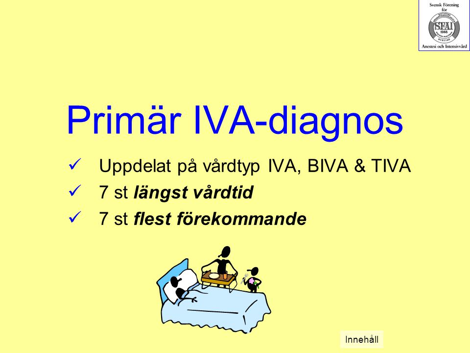 Primär IVA-diagnos Uppdelat på vårdtyp IVA, BIVA & TIVA 7 st längst vårdtid 7 st flest förekommande Innehåll