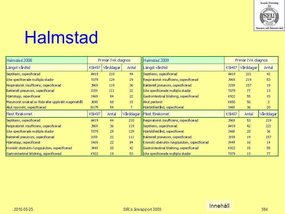 2010-05-25.SIR:s årsrapport 2009.584 Halmstad Innehåll