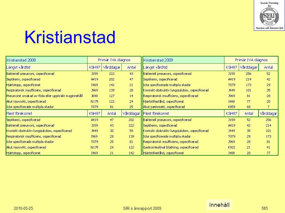 2010-05-25.SIR:s årsrapport 2009.585 Kristianstad Innehåll