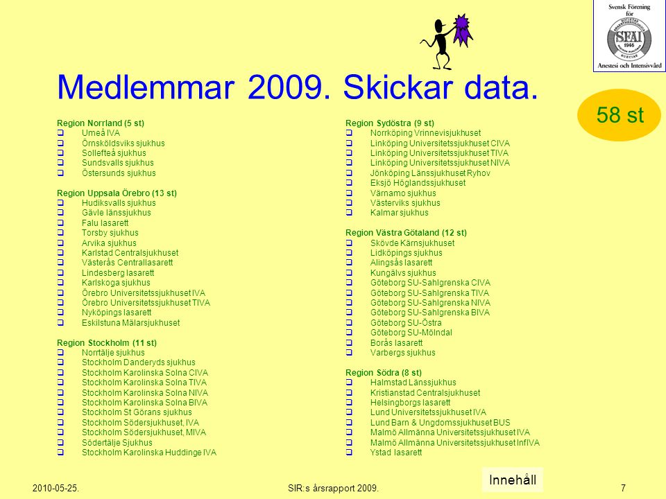 2010-05-25.SIR:s årsrapport 2009.7 Medlemmar 2009. Skickar data. Region Norrland (5 st)  Umeå IVA  Örnsköldsviks sjukhus  Sollefteå sjukhus  Sunds