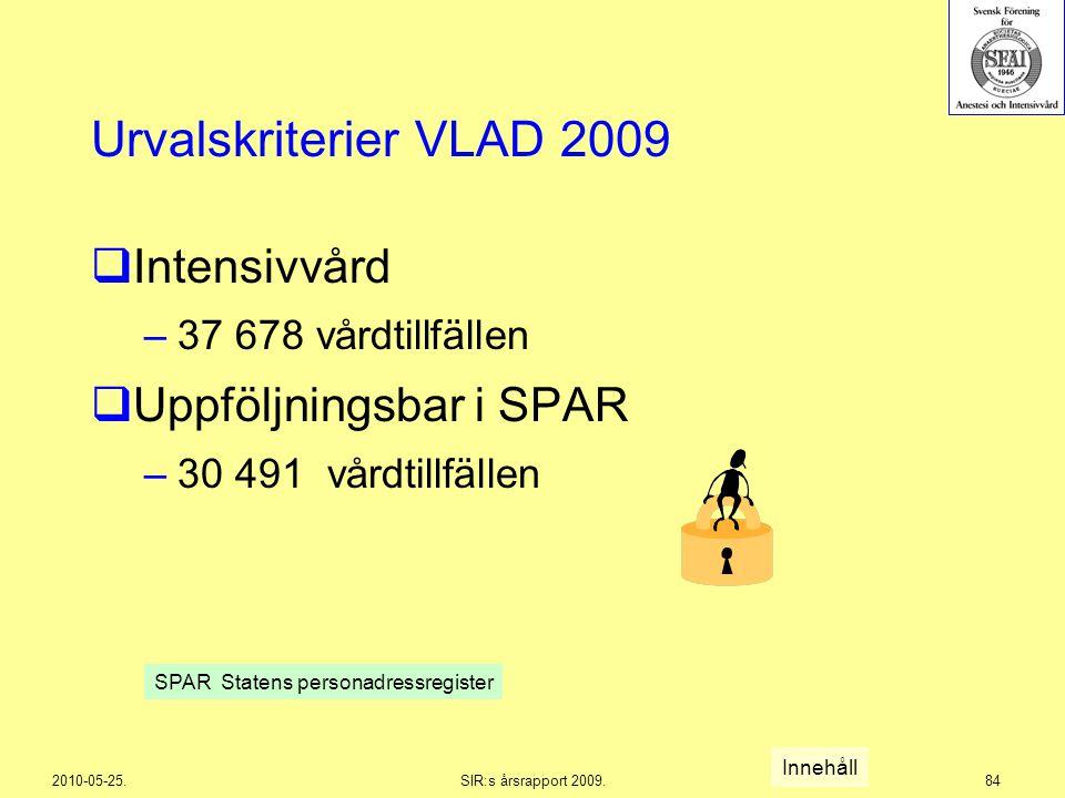 2010-05-25.SIR:s årsrapport 2009.84 Urvalskriterier VLAD 2009  Intensivvård –37 678 vårdtillfällen  Uppföljningsbar i SPAR –30 491 vårdtillfällen In