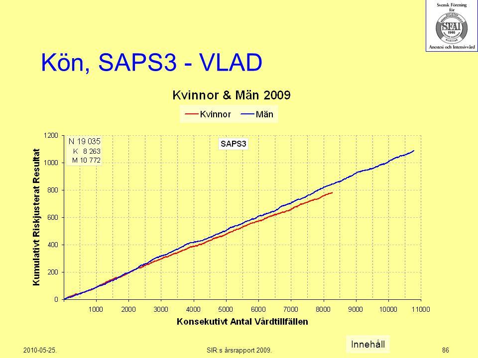 2010-05-25.SIR:s årsrapport 2009.86 Kön, SAPS3 - VLAD Innehåll