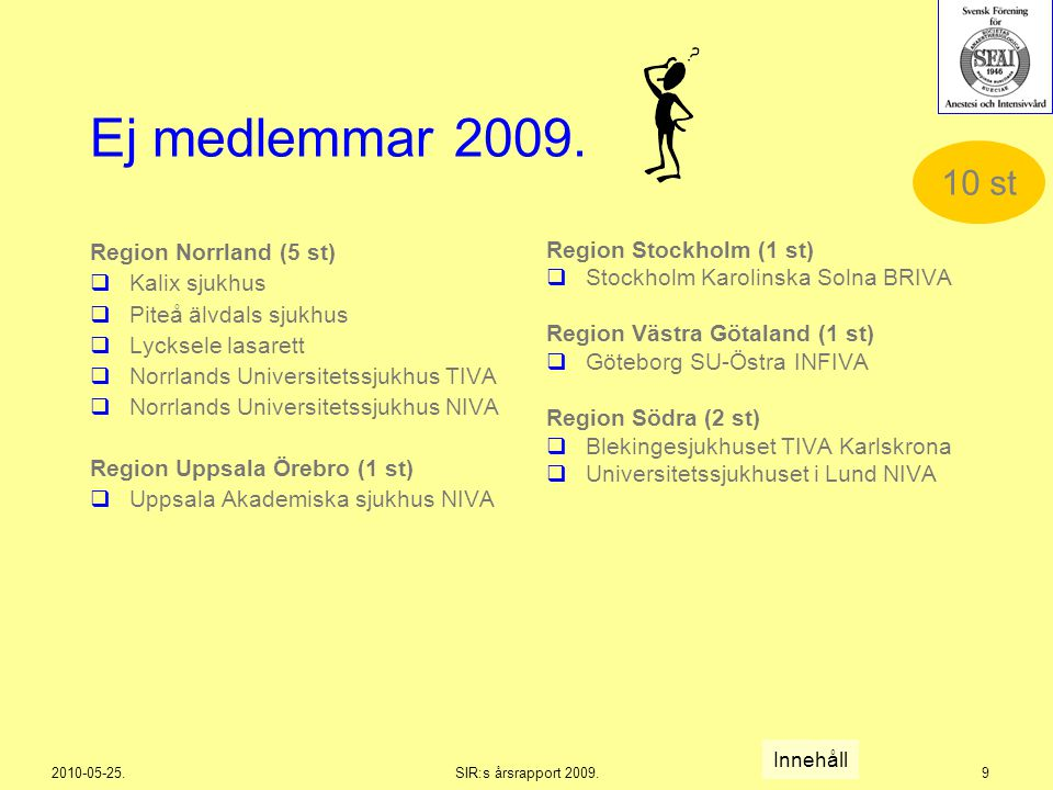 2010-05-25.SIR:s årsrapport 2009.9 Ej medlemmar 2009. Region Norrland (5 st)  Kalix sjukhus  Piteå älvdals sjukhus  Lycksele lasarett  Norrlands U