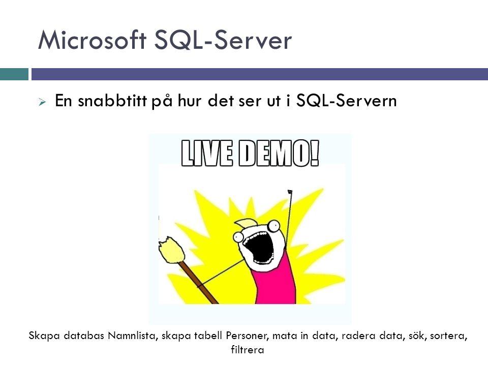 Microsoft SQL-Server  En snabbtitt på hur det ser ut i SQL-Servern Skapa databas Namnlista, skapa tabell Personer, mata in data, radera data, sök, sortera, filtrera