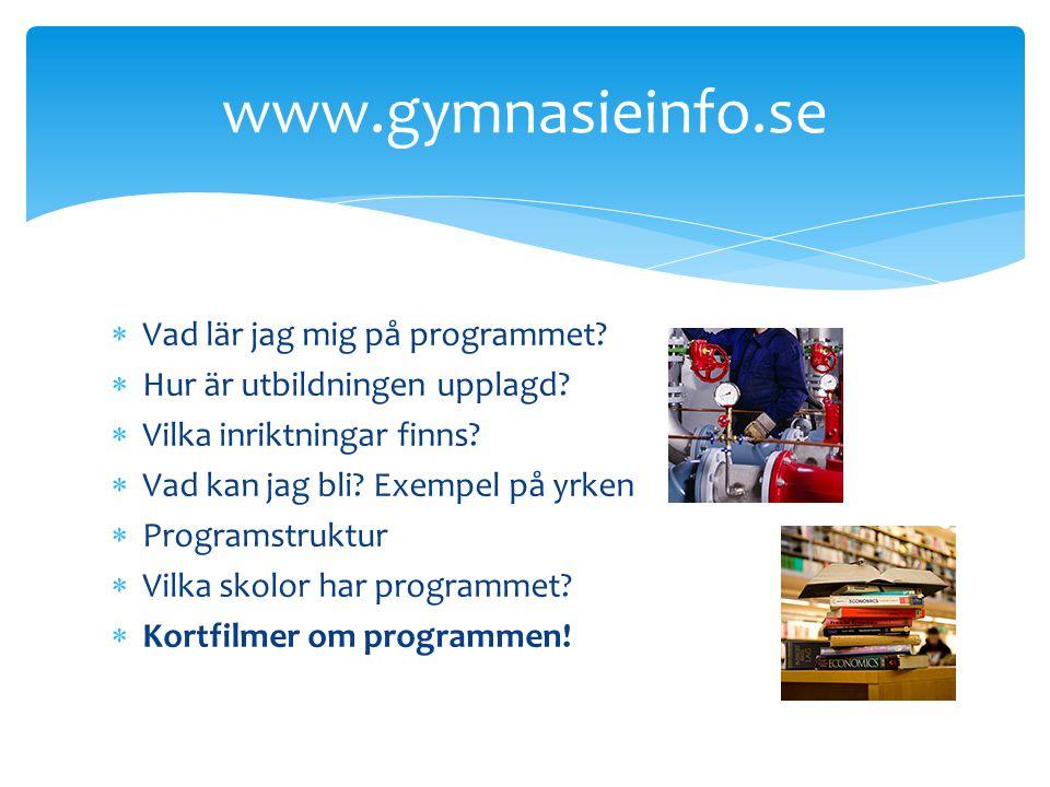 www.gyantagningen.se Program, inriktningar Skolor Antagningsgränsen Aktuellt RIG/NIU Öppet hus – datum & tider Det är också på den här websidan som du