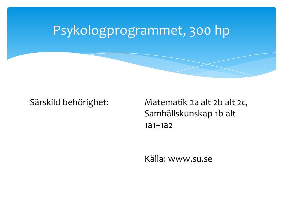 Ex. på program med särskild behörighet Tandläkarutbildning, 300 hp Läkarprpgrammet 330 hp Särskild behörighet:Biologi 2, Fysik 2, Kemi 2, Matematik 4