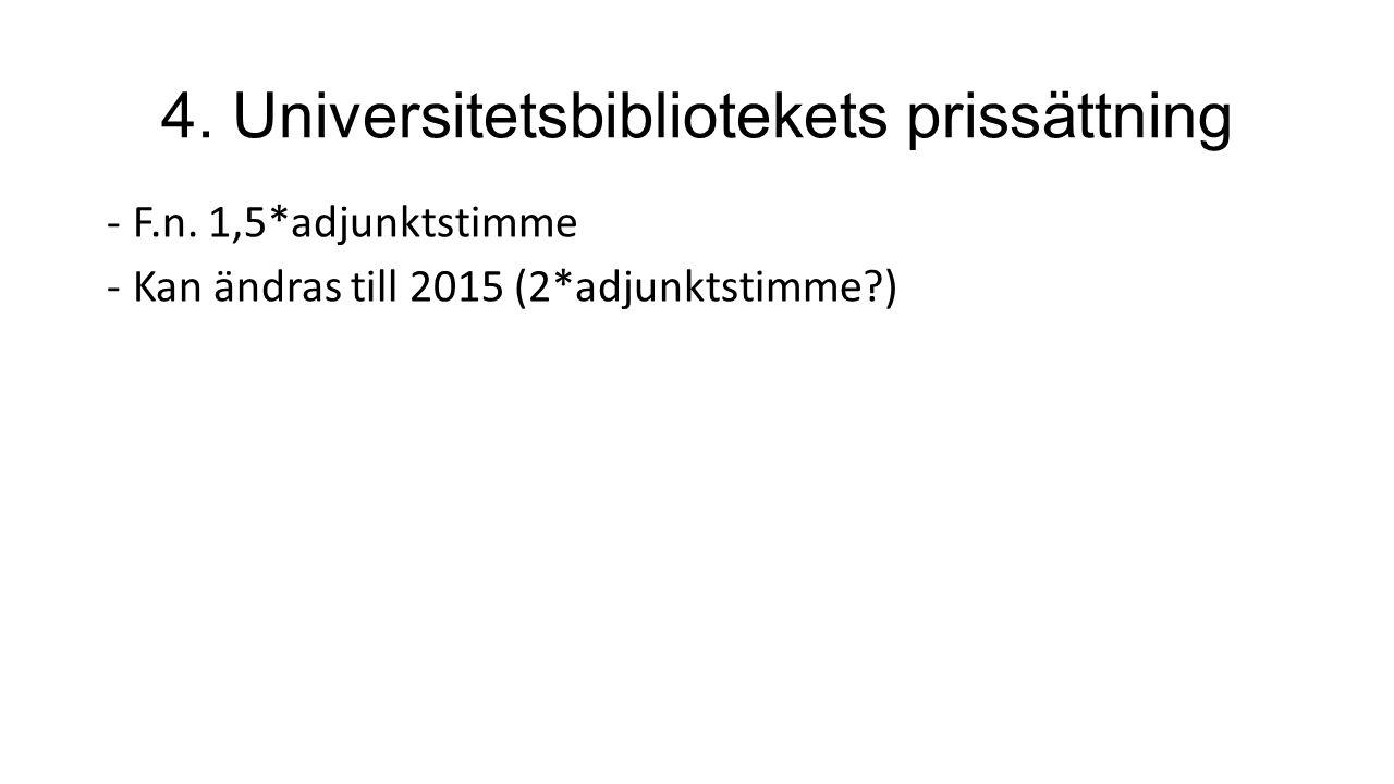 4. Universitetsbibliotekets prissättning -F.n.